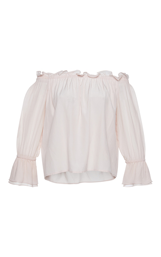 Medium isolda tan frufru cinched ruffle silk top