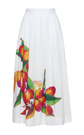 Medium isolda white rio midi applique skirt