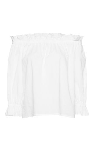 Medium isolda white cotton frufru off the shoulder top