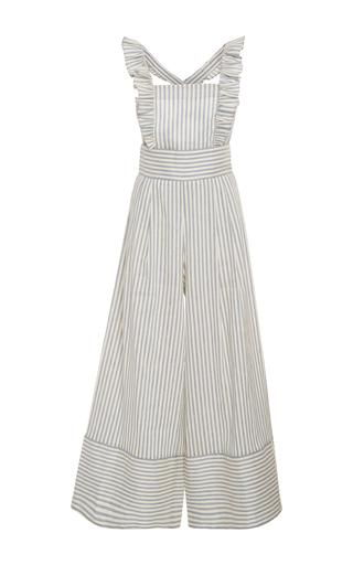 Medium luisa beccaria stripe striped linen blend jumpsuit