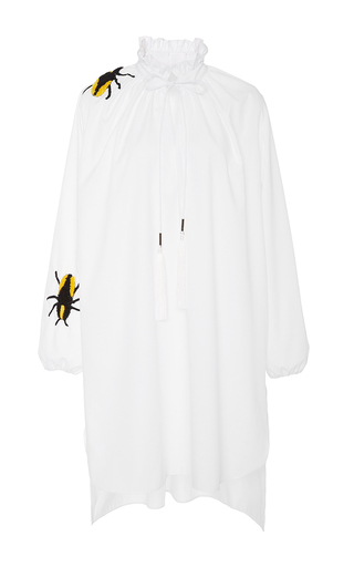 Medium azede jean pierre white long sleeve embroidered shirt dress