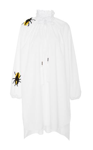Medium azede jean pierre white long sleeve embroidered shirt dress