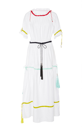 Medium azede jean pierre white ruched collar drawstring dress