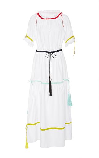 Medium azede jean pierre white ruched collar drawstring dress