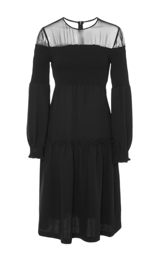 Medium azede jean pierre black open shoulder smocked dress