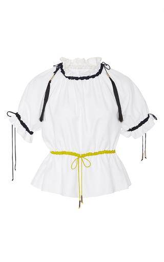 Medium azede jean pierre white ruched collar drawstring blouse