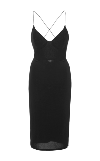 Medium azede jean pierre black cross back fitted dress