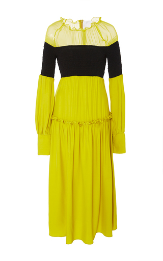 Medium azede jean pierre yellow open shoulder silk smocked dress