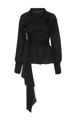 Medium azede jean pierre black tie waist blouse