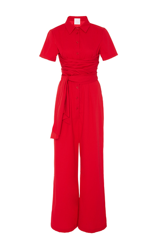 Medium azede jean pierre red tie waist long jumpsuit