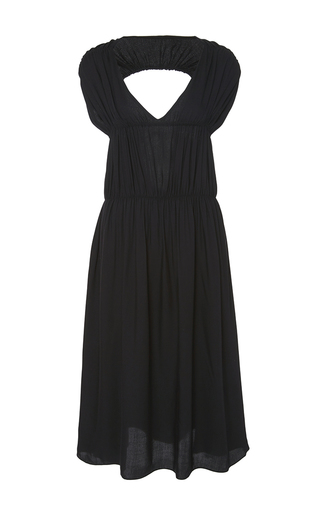Medium azede jean pierre black open back ruched dress