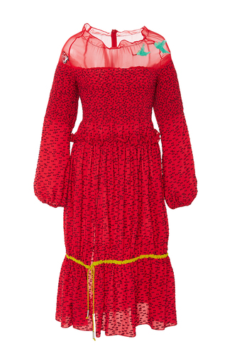 Medium azede jean pierre red embroidered open shoulder smocked drawstring dress