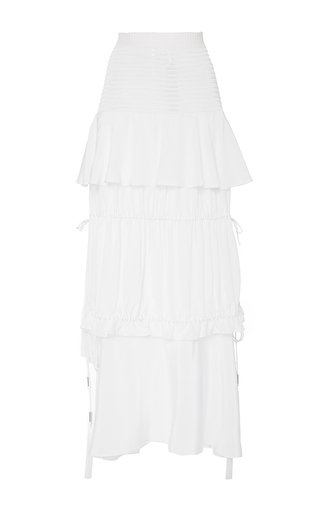 Medium azede jean pierre white layered flounce drawstring skirt