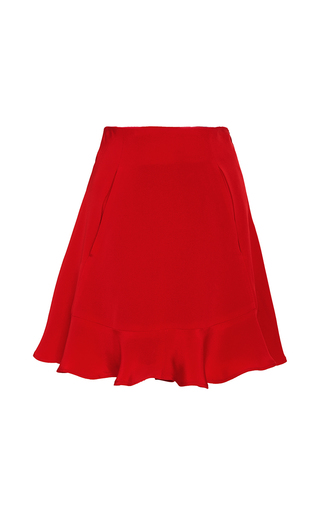 Medium azede jean pierre red flounce hem silk mini skirt