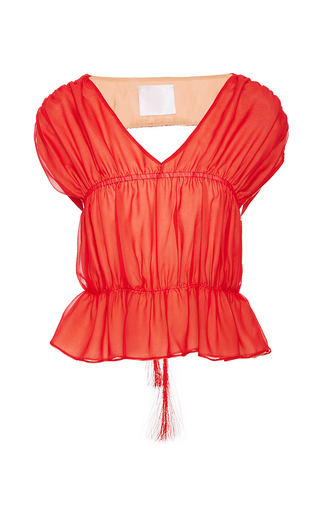 Medium azede jean pierre red open back ruched top