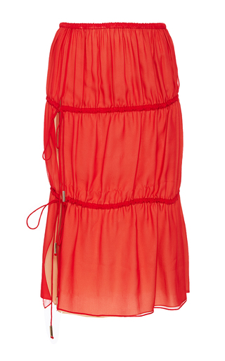 Medium azede jean pierre red chiffon ruched skirt