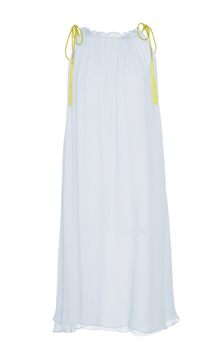 Medium azede jean pierre white ruched neck chiffon dress