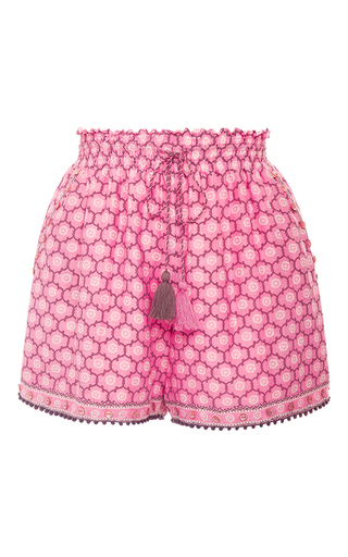 Medium talitha pink trellis print ruched shorts