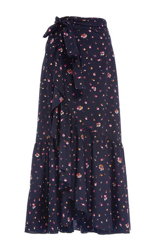 Medium rebecca taylor blue mia floral print skirt