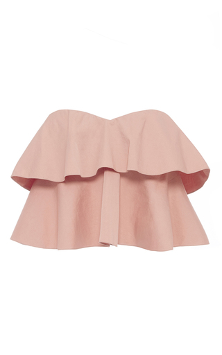 Medium rebecca taylor pink strapless cotton ruffle top