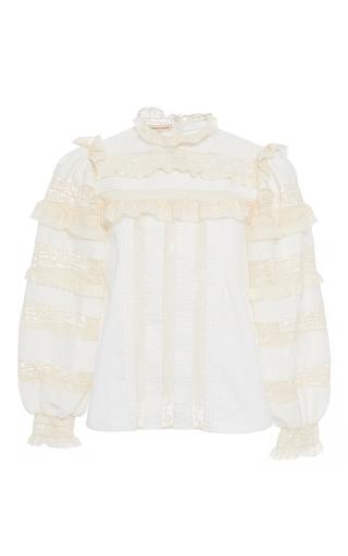 Medium rebecca taylor white poplin lace top