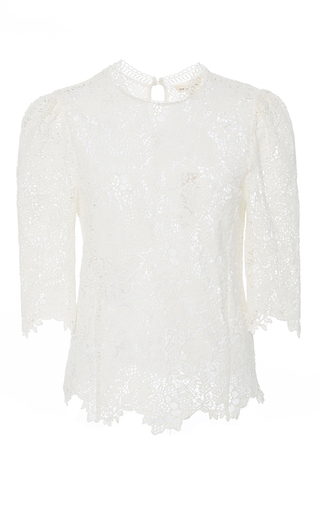 Medium rebecca taylor white ariella lace mock neck top