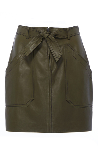 Medium rebecca taylor green tumbled leather mini skirt