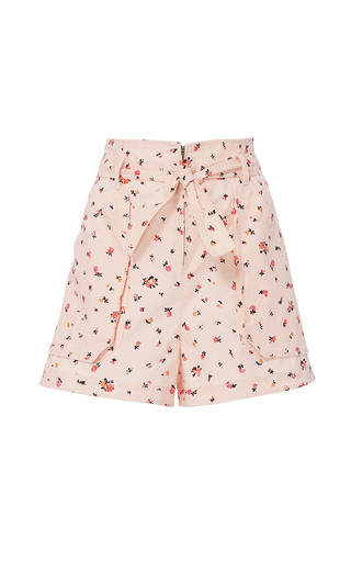 Medium rebecca taylor pink mia floral print belted short