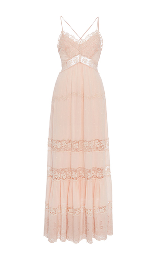 Medium rebecca taylor pink full length eyelet dress