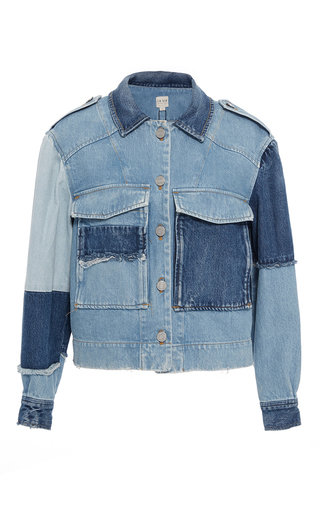 Medium rebecca taylor blue patched rigid denim jacket