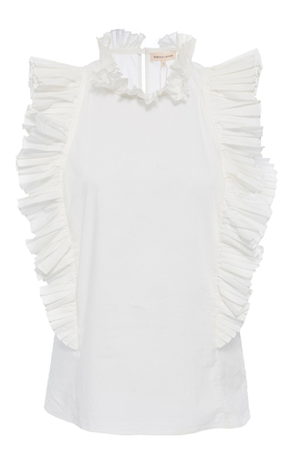 Medium rebecca taylor white pop pleat shirting top