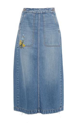Medium rebecca taylor blue embroidered denim skirt