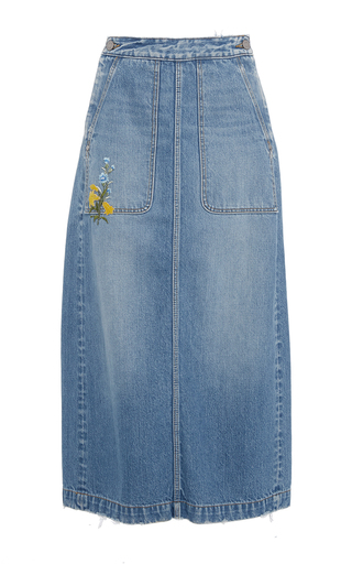 Medium rebecca taylor blue embroidered denim skirt