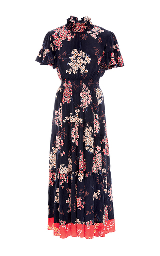 Medium rebecca taylor navy phlox floral print midi dress
