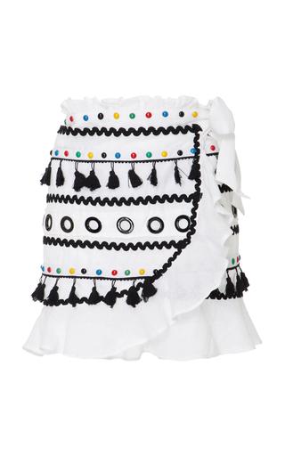 Medium dodo bar or white abbigail embellished cotton wrap skirt