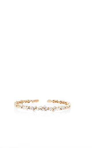Medium suzanne kalan gold 18k gold white diamond double baguette bangle