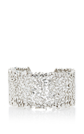 Medium suzanne kalan silver 18k white gold and white diamond baguette fireworks cuff