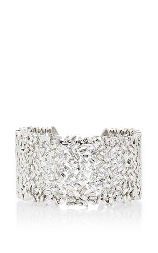 Medium suzanne kalan silver 18k white gold and white diamond baguette fireworks cuff
