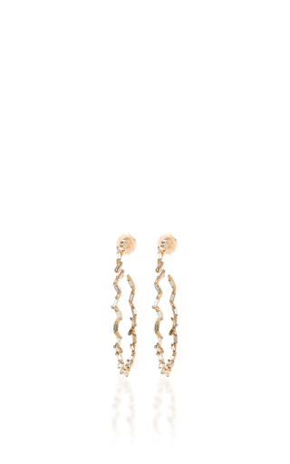 Medium suzanne kalan rose gold 18k rose gold champagne diamond baguette hoops