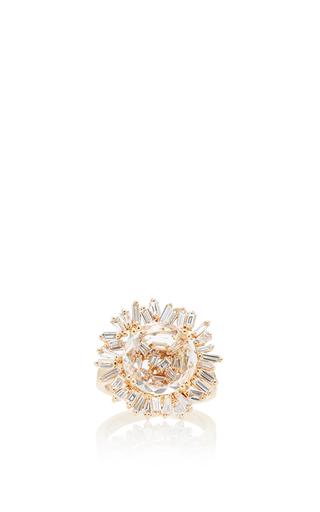 Medium suzanne kalan gold 18k yellow gold white topaz vitrine ring