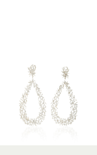 Medium suzanne kalan silver 18k white gold baguette dangle earrings