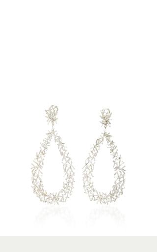 Medium suzanne kalan silver 18k white gold baguette dangle earrings