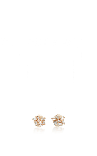 Medium suzanne kalan rose gold 18k rose gold champagne diamond studs