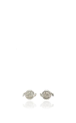 Medium suzanne kalan silver 18k white gold diamond baguette line studs