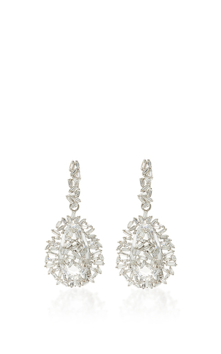 Medium suzanne kalan silver 18k white gold pear topaz vitrine earrings