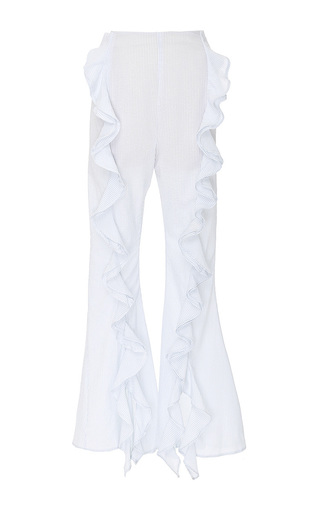 Medium viva aviva blue split ruffle seersucker bellbottoms