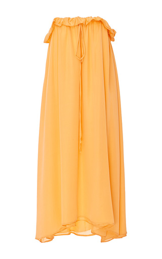 Medium viva aviva orange drawstring sherbet strapless dress
