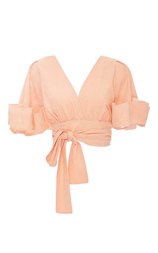 Medium viva aviva orange undulating wave wrap top