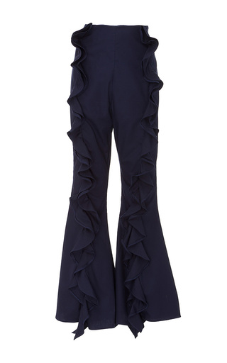 Medium viva aviva navy split ruffle bellbottoms