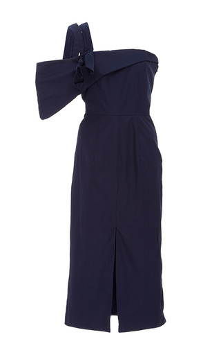 Medium viva aviva navy knot asymmetric poplin dress
